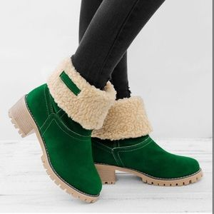 Rose Plush-Lined Fold-Over Boot